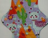 ZORB Kiki Mama Cloth Menstrual Pad Size is Regular Sheep Cactus Flowers Lavender