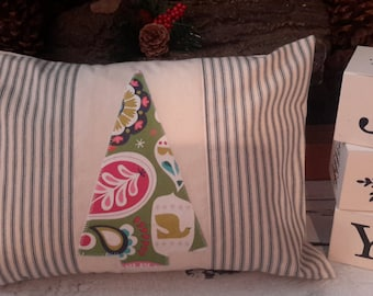 Christmas Pillow Cover Rustic Ticking