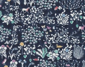 Fat eighth Yoshie A Liberty print, navy blue forest animals silhouette Liberty of London tana lawn