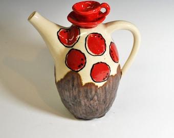 Handmade Ceramic Teapot, Red Polka Dot Teapot, Wheel thrown teapot