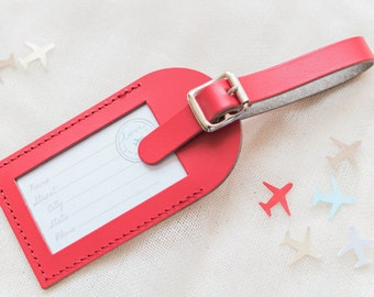 Bulk Listing - Red Wedding Favors - Fly Away with Me Leather Luggage Tags