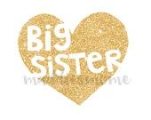 Big Sister Gold Glitter Heart DIY Iron on T Shirt Transfer Iron on Decal (Big Sister Gold Glitter Heart)