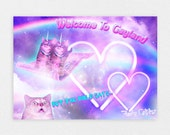"Welcome To Gayland 8"" x 10"" Space Cat Print - LGBT Rainbow Cats Kitten Pastel Kawaii Gay Pride Space Cat Laser Cat"