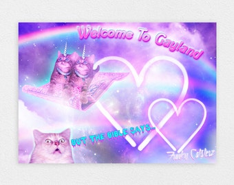"""Welcome To Gayland 8"""" x 10"""" Space Cat Print - LGBT Rainbow Cats Kitten Pastel Kawaii Gay Pride Space Cat Laser Cat"""