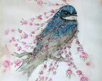 Swallow illustration print from original watercolor