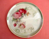 """Vintage Hot Plate 1930s - White porcelain, Beautiful Cluster of Pink Roses, Forget-Me-Nots & leaves Transfer Pattern, """"Made In Germany"""""""