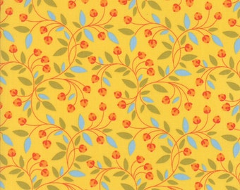 Colorful Floral Berry Fabric on Yellow - Wing & Leaf by Gina Martin from Moda - Fat Quarter