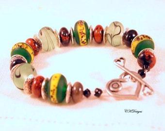 SALE Lampwork Beaded Bracelet,  Lampwork and Agate Beaded Bracelet, Gemstone bracelet,  OOAK Handmade Bracelet. CKDesigns.US