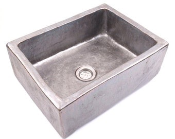 Steel sink, unusual washstand, overtop