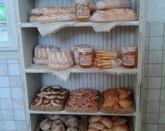 Dollhouse miniature vintage display of bakery products
