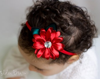 Christmas Headband - Christmas Crystal Flower Headband OR Hair Clip - Christmas Satin Flower Handmade Headband - Baby to Adult Headband