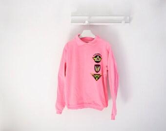 Vintage WEK Hot Pink Denim Sweatshirt, Made in USA, size 1