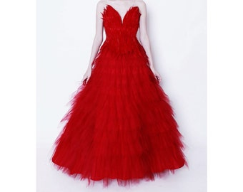 Firebird Ballet Red Feather Corset Tulle Gown
