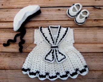 Crochet Baby Girl Dress Set Knit Sailor Dress Set Newborn Sailor Dress Crochet White Baby Girl Sailor Photo Prop Crochet White Sailor Dress
