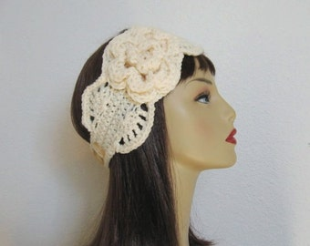 Cream Crochet Headband Cream Headband with Flower Cream Ear Warmer Beige earwarmer Cream knit head band cream headwrap crochet head wrap