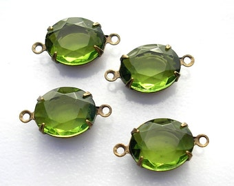 Set of Four 12x10mm Olivine Glass Jewels in Brass Connector Settings