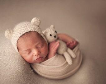 PDF Knitting Pattern - newborn photography prop My First Teddy and Bear bonnet SET #143