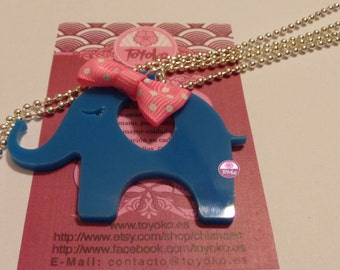 "On Sale!! Necklace ""Elephant-bow"" (pink)"