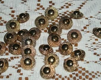 "25 Fancy Gold-tone  Plastic Shank Buttons 13/16  "" Lot 1690"