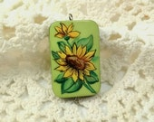 Sunflower Pendant, Handpainted Pendant, Floral Pendant, Yellow and Green, Jewelry Supplies, Sunflower Lover