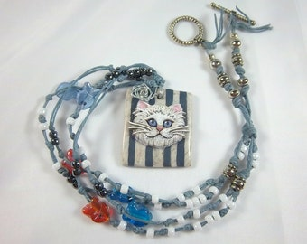 Cat Necklace, White Cat Necklace, Knotted Blue Necklace, Blue, White Stripes, Polymer Clay, White Dusty Blue, Seed Beads, Button
