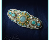 Embroidered hair clip, Beaded barrette