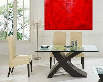 Large Abstract painting,Original comtemporary Red Abstract textured. Ready to hang  by Nicolette Vaughan Horner