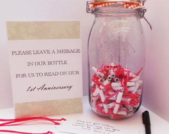 Personalised Wedding Mr & Mrs Kilner Jar Message in a bottle Guest Book Kit