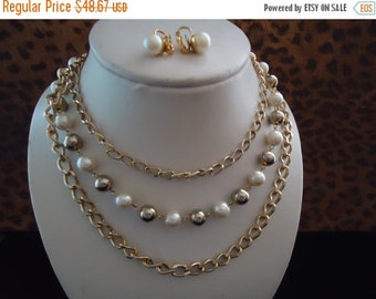 Now On Sale Vintage Faux Pearl Gold Beaded 3 Strand Demi Parure 1960's Necklace Earring Set Mad Men Mod Retro Chunky Wide Black Tie Jewelry