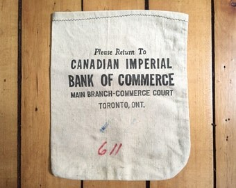 Vintage Money Bag - CIBC Bank Memorabilia - Bank Advertising Advertisment