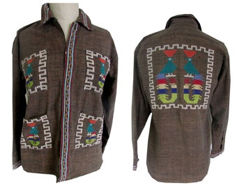 Funky Brown Embroidered Western Aztec Hippie Button Down Boho Shirt