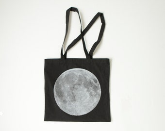 MOON tote bag midnight black & white lightweight summer beach book bag