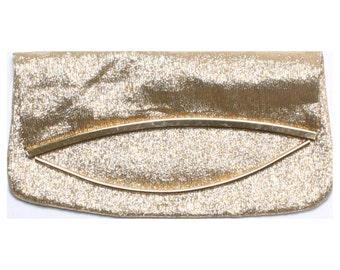 Vintage 60s Gold Folding Flap Metallic Clutch Bag