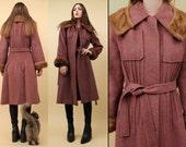 70s does 30s Vtg Mauve Rose Mohair Genuine WOOL + MINK Coat / Spy Trench Swing Bell Sleeve Jacket Fur Collar+Cuff Minimal Mod Deco EUC Xs Sm
