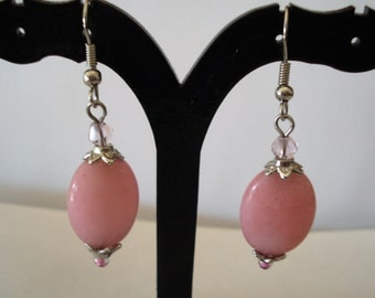 Pink And Pretty Oval  Dangle Earrings