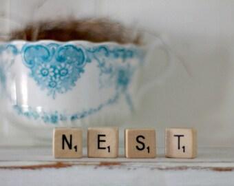 vintage wood block word NEST