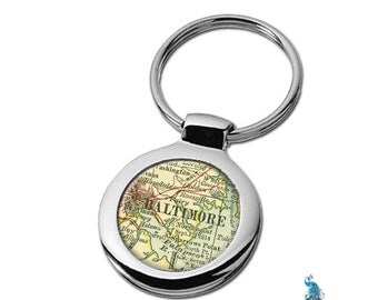 Map Keychain Baltimore Maryland Key Ring Fob