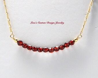 Garnet bead bar gold filled chain necklace