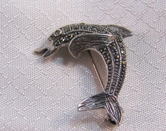 c1980's Sterling Marcasite Studded Dolphin Brooch