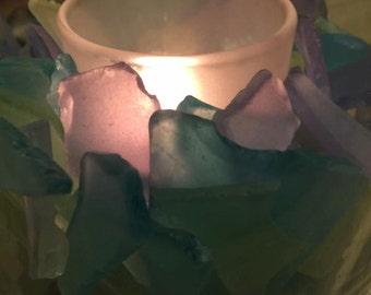 Sea Glass Tealight Holder with Tealights