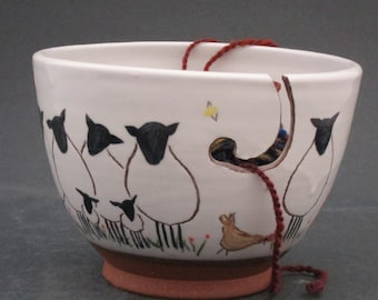 Ceramic  Sheep, Lamb and Chicken Yarn Bowl