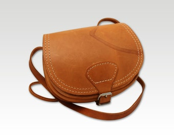 Vintage Tan Brown Leather Saddle Bag, Messenger, Cross Body Bag