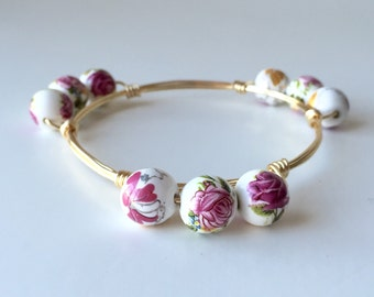 Purple Floral Ceramic Wire Wrapped Bangle Bracelet