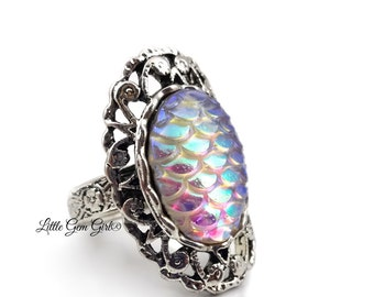 Rainbow Dragon Ring - AB Color Changing Dragon Scale Ring - White Dragon Egg Ring - Mermaid Scale Ring - Silver Adjustable Ring Band