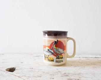Vintage Florida Mug Seagull Mid Century Florida Mug Tan Cup Vintage Modern Mug Ceramic Mug Sunshine Mug