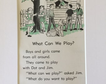 Vintage Children's Book Page, Art, Vintage Reader Page, 1960s, Wall Art, Childs Room, Nursery, Jim and Dot, 5x7 Matted Art, Free Shipping