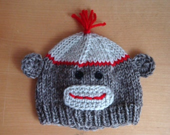 Sock Monkey Hat for Newborn Babies, Infants and Toddlers, Knit Crochet Sock Monkey Beanie