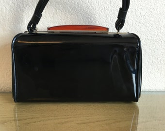 Vintage Patent Purse with Large Lucite Piece - Mad Men - VLV - Pin Up