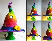 felted lamp, witch hat, bedside lamp, night light, handmade, wool, felt, fairy light, Waldorf inspired, MADE TO ORDER