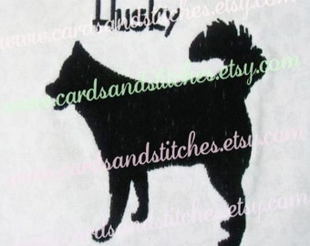 "Husky Embroidery - Husky Silhouette Embroidery Design - Machine Embroidery - Instant Download - Two Sizes 4""x4"" and 5""x7"" - Seven Formats"